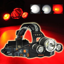 Tactical Boruit 6000LM 3x XM-L T6 +2x RED R5 Red LED Head Headlight Torch Lamp