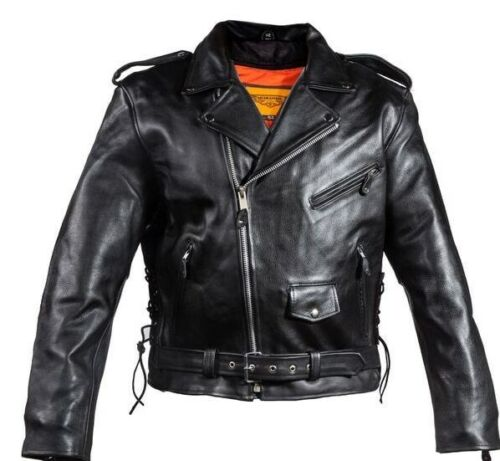 MEN/'S MOTORCYCLE COWHIDE CLASSIC M//C JACKET LACE POLICE LIVE TO RIDE EMBOSSED