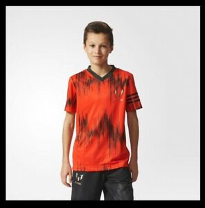 3f607a2a0d6 adidas Messi all over print Junior Tee T Shirt Solar Red with free ...