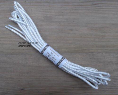 1 Paar robuste Schnürsenkel rund weiß 70 190 210cm 0.4cm Durchmesser