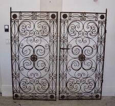 Pair Antique Vintage Hand Wrought Iron Decorative Architectural Garden Gates