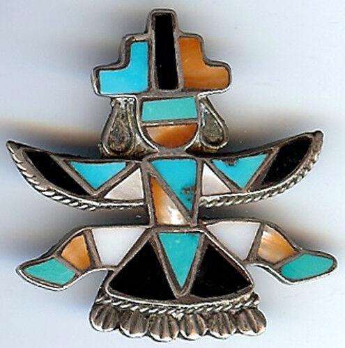 Vintage Zuni Indiano Indiano Indiano argentoo Intagliati Turchese Corallo Guscio Onice con Pin e4761c
