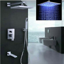 "Chrome Shower Faucet 8"" LED Rainfall Shower Head With Hand Shower Spray  Tub Tap"