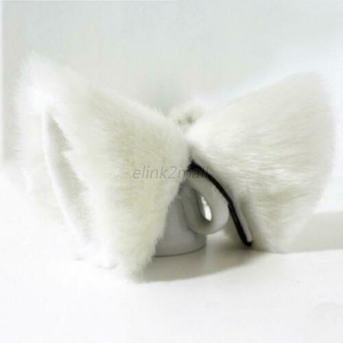 2 pairs Cosplay Cute Cat Ears Hair Clips Costume Fluffy Faux Fur for Party UK