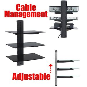 Dvd Player Cable Box Wall Mount 3 Shelf Stand Direct Tv Glass