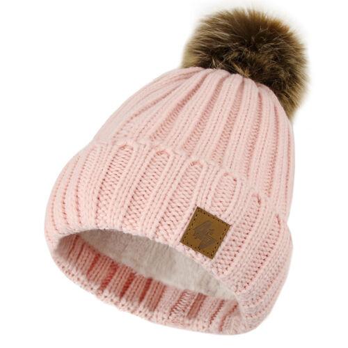 Scarf Gloves Beanie Child Warm Winter Fleece Lining Ski Knitted Bobble Hat