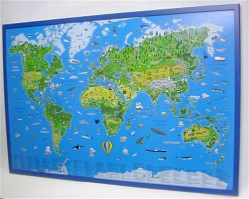 Illustrated Children World Map on Cork Pin Board 35 3//8x23 5//8in New 199070