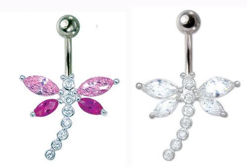 Libélula Piercing Para Ombligo Ombligo Bar vientre anillo Gema Piedra joyas de cuerpo Body Piercing