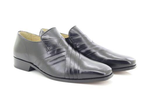 Montecatini MT5110 en cuir noir CROIX LOGO Pleated Front Slip On Chaussures