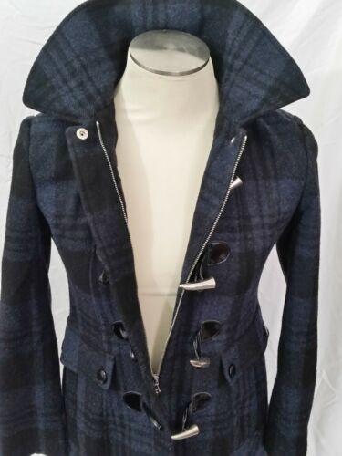 GUESS Plaid Toggle Full-Zip Hood Coat Size Medium