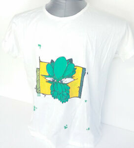 Artistic-Monster-t-shirt-worked-and-hand-painted-in-Italy-cotton-size-L-white
