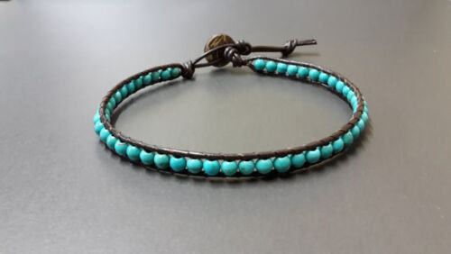 Turquoise Bean Leather Anklet