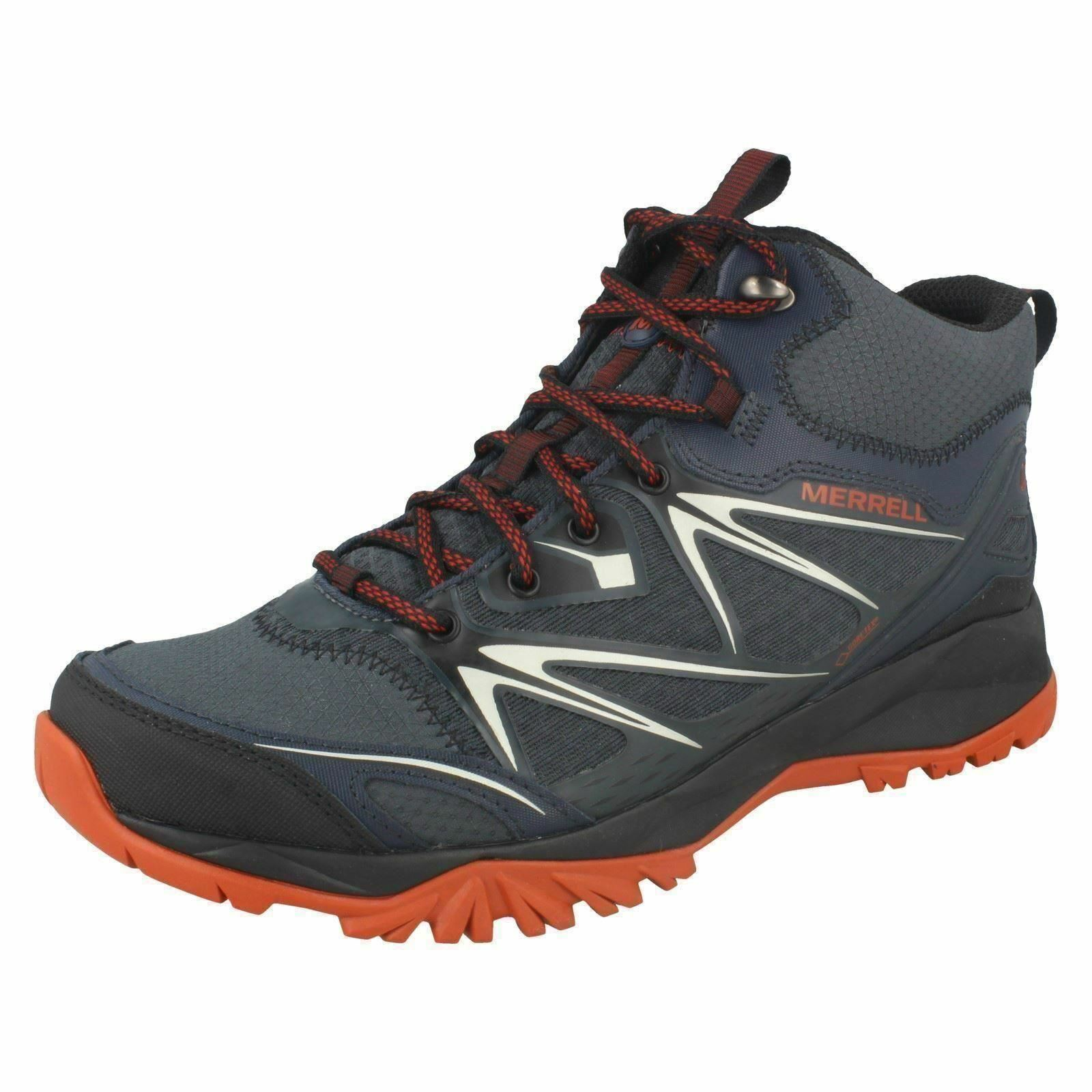 Mens Merrell Capra Bolt Mid Gore-Tex schwarz/Navy Lace Up Ankle Stiefel J35719
