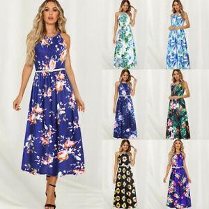 Women-039-s-Boho-Floral-Sexy-Maxi-Dresses-Belt-Ladies-Summer-Holiday-Beach-Dress