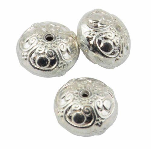 Pack de 4 grandes perles en métal argenté rhondelle 37887-93