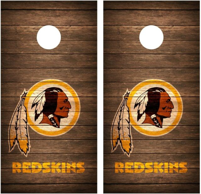 Washington Redskins Vintage Wood Cornhole Board Decal Wrap Wraps (brown)