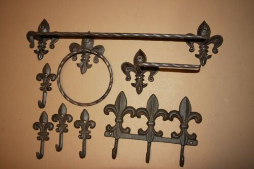 Cajun Creole Bath Decor 8 Vintage style cast iron towel bar wall hooks set