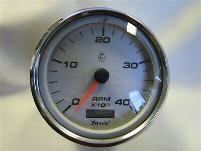 FARIA TDH221A OVERSIZED TACHOMETER W//DIGITAL HOUR METER SILVER FACE MARINE BOAT