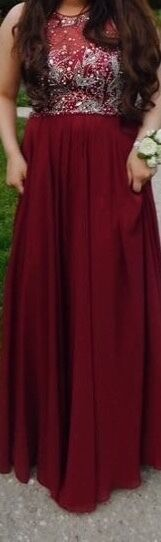 Dress, red,beads on on on top, A line dress, Prom dress, Burgandy, Elegant, formal 6979f4