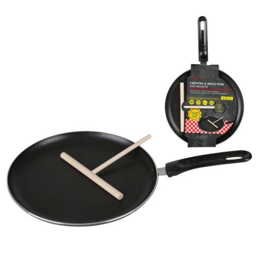 Non-Stick Induction Crepe Pan With Spreader 26cm Flat Pancake Crepe Pan Tawa Tav