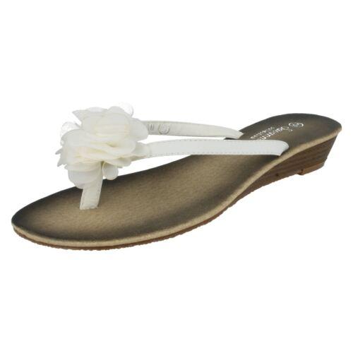LADIES SAVANNAH SLIP ON FLORAL TOE POST SLIP ON MULES SUMMER SANDALS L6R036
