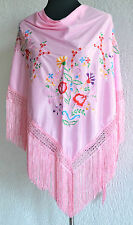 "Spanish flamenco Pink shawl red/yellow/lilac/pink floral embroidery  66"" x 39"""