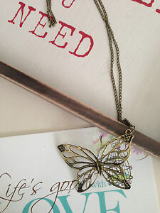 New-Bronze-vintage-stylish-hollow-Butterfly-pendant-necklace-sweater-chain
