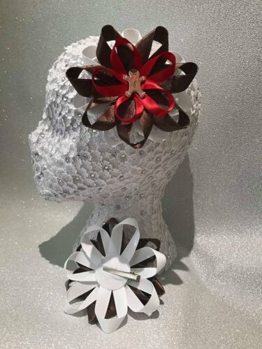 Handmade white//brown//red gingerbread man Christmas Xmas large Romany hair bows