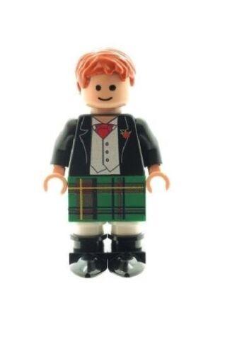 Custom Designed Minifigure Scottish Groom in Green Kilt Printed on LEGO Parts
