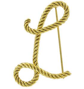 "Large Script Gold Tone Rope Initial ""L"" Pin Brooch 2 1/2"""