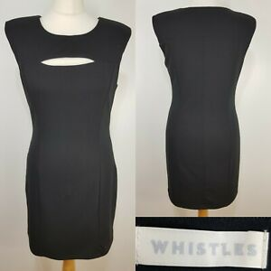 Whistles-Ladies-Black-Fitted-Pencil-Wiggle-Dress-Size-10-Smart-Work-Office