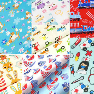 Childrens-Fabric-FAT-QUARTERS-Kids-Baby-POLYCOTTON-Material-Boy-Girl-Dress
