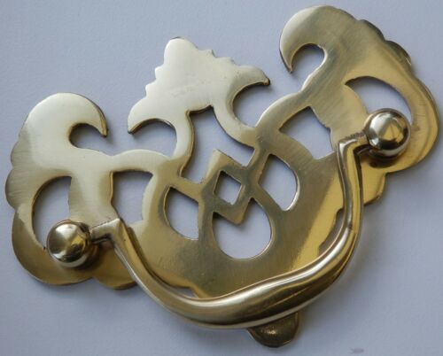 POLISHED SOLID BRASS ORNATE DRAWER SWING HANDLES