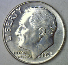 1958 D Silver UNCIRCULATED BU Roosevelt Dime Ten Cent Coin from Nice 10c Roll #R