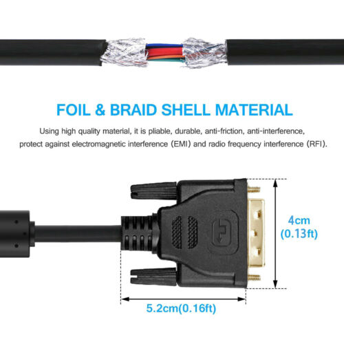 Hig-Speed Gold Plated DVI-D Male to Male Cable Cord Wire with Ferrites-15 Feet