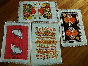 4 ~ NOS 70's/80's Kitchen Towel's CANNON & LESHNER Terry Cloth RETRO Vintage