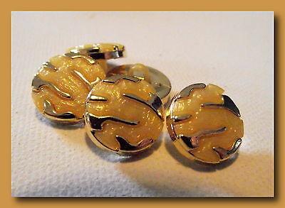 6 BOUTONS doré et rouge cerise 15 mm  1,5 cm pied queue button gilt lot red