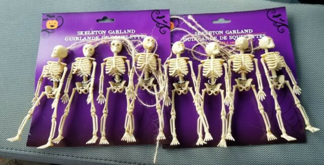 """Halloween Skeletons Garland Haunted House Scull Trick Treat Decor 4 on 60"""" Lot 2"""