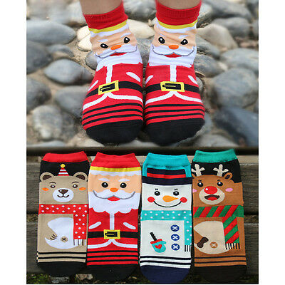 Women Winter Socks Gift Warm Soft Cotton Sock Cute Santa Claus Deer Xmas Gift IM