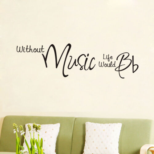Without music life stickers wall Quote Removable Art Vinyl Decor Home Kids Au
