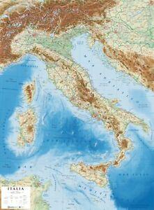 Italia Cartina Regione.Italia Carta Geografica In Rilievo 69x89 Cm Plastico 3d Mappa