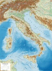Cartina Politica Italia Zoom.Italia Carta Geografica In Rilievo 69x89 Cm Plastico 3d Mappa Global Map Ebay