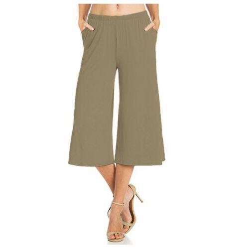 Women Ladies Casual Wear Elastic Waist Loose Culottes Capri Pocket Palazzo