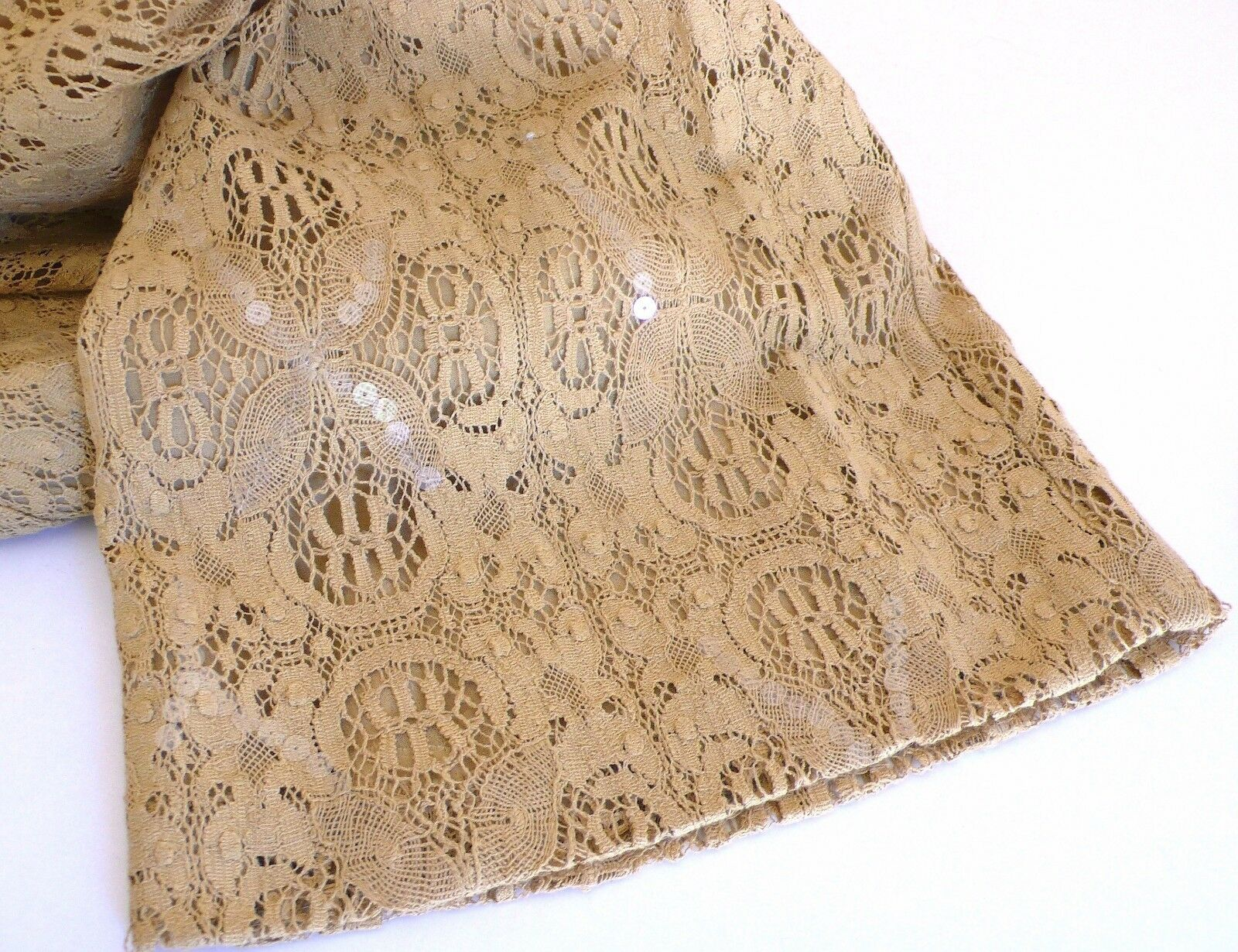 FAB  895 NWT GENNY Couture Caramel-Beige Sequined Cotton Lace Pants 48 ITALY
