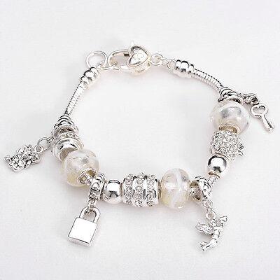 XMAS European Murano Glass Beads sterling Silver key charm Bracelet XB094 +box