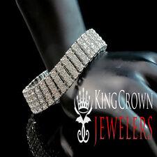 "14k White Gold Finish New Mens 4 Row Lab Diamond Simulated Tennis Bracelet 8.5"""