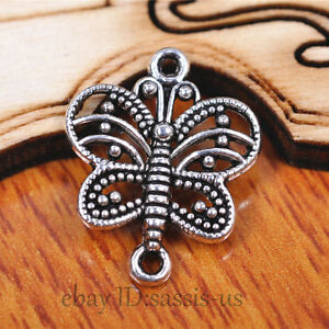 50-pieces-17mm-Charms-butterfly-Pendant-Connector-Tibet-Silver-DIY-Jewelry-A7084