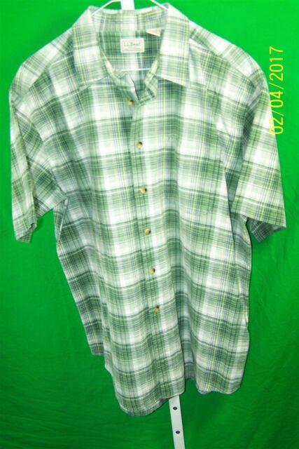 L L Bean Mens Short Sleeve Cotton Green White Plaid One Patch Pocket Size Large