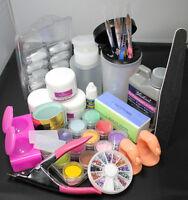 Acrylic Liquid Powder Half French Nail Art Tips Pump File Clipper Tools Kit