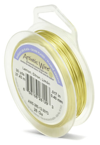 Beadalon Artistic Wire Various Available 26 gauge 0.4mm Silver Plated Colours